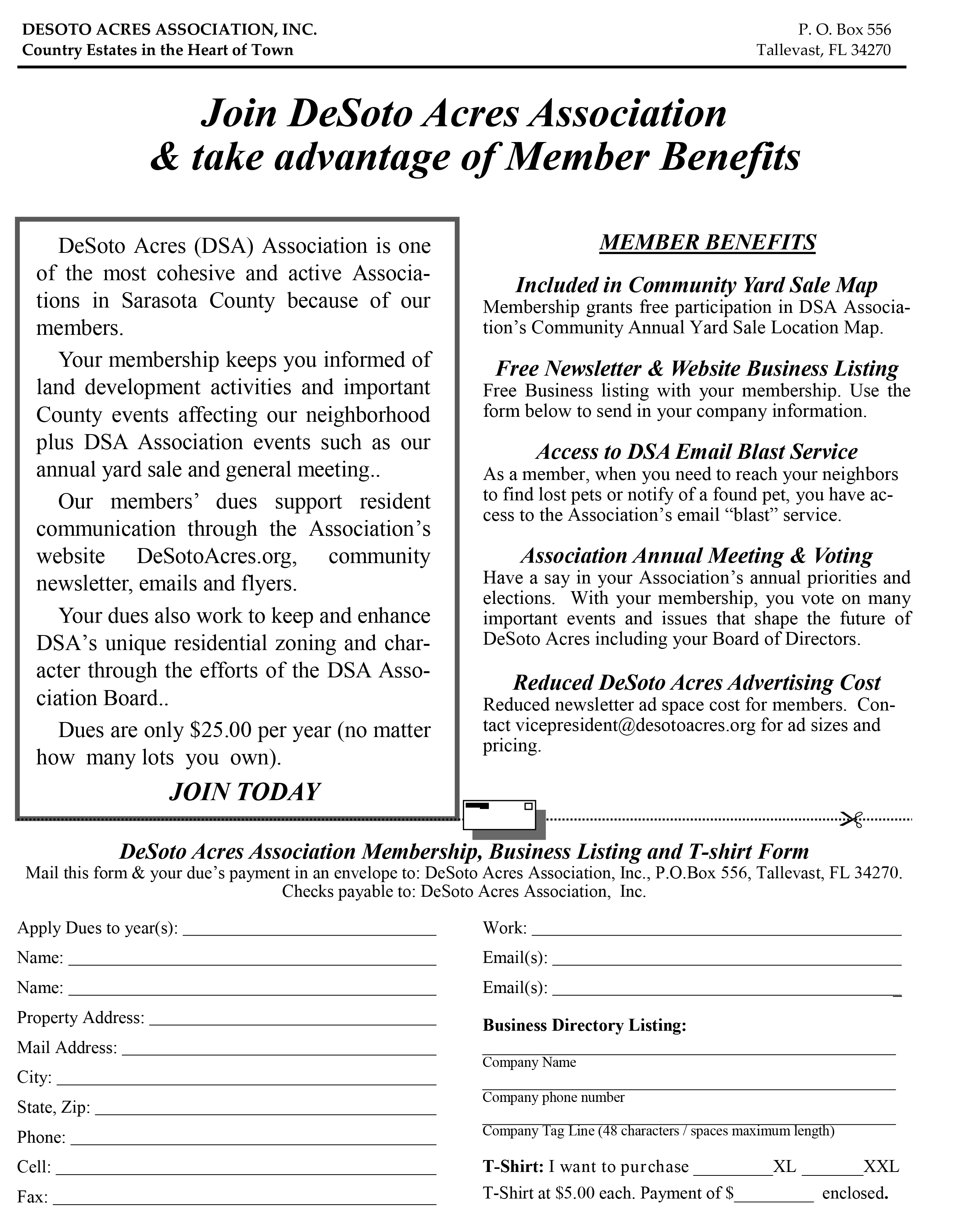 DeSoto Acres Association Membership Form  Membership Forms Templates